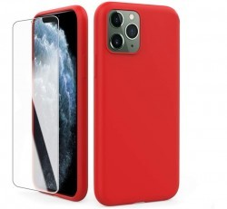 AhaStyle Apple iPhone 11 szilikon tok + tempered glass üvegfólia, piros
