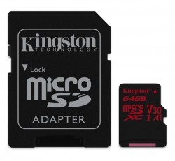 Kingston  Canvas React microSDXC 64GB (Class 10), U3 UHS-I, V30 memóriakártya adapterrel (SDCR/64GB)