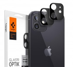 Spigen Glas.TR Optik Apple iPhone 12 Mini Tempered kamera lencse fólia, fekete, 2db