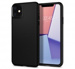 Spigen Liquid Air Apple iPhone 11 Matte Black tok, fekete