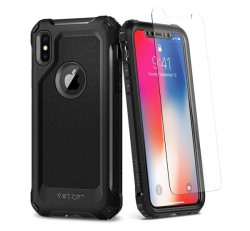 Spigen SGP Pro Guard Apple iPhone X Gunmetal hátlap tok (üvegfólia)