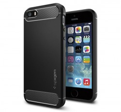 Spigen Rugged Armor Apple iPhone SE/5s/5 Black tok, fekete