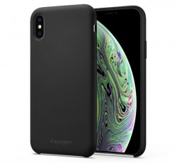 Spigen Silicone Fit Apple iPhone Xs/X Black tok, fekete