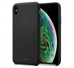 Spigen Silicone Fit Apple iPhone Xs Max Black tok, fekete