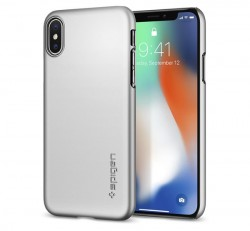 Spigen Thin Fit Apple iPhone X Satin Silver tok, ezüst