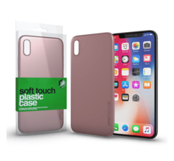 Xprotector Soft Touch plasztik hátlap tok, Apple iPhone X, rozé arany